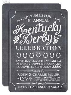 Chalkboard Kentucky Derby Party Invitation
