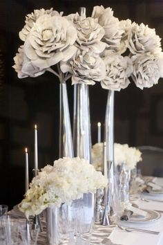 Winter Wedding Flower & Candle Table Centerpieces & Decorations