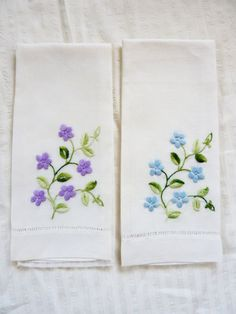 Linen Hand Towels  Blue Purple Embroidered Flowers on White