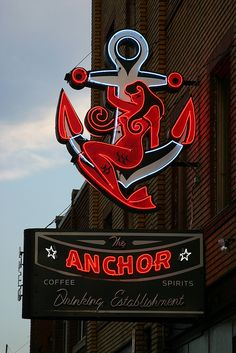 The Anchor Neon Bar Sign with a Mermaid