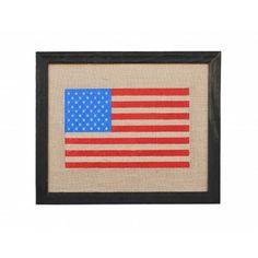 American Flag Burlap Print