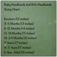 Baby Headbands and Girls Headbands Sizing Chart