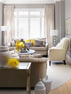 grey + yellow living room
