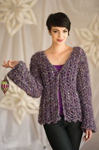 Casual Confetti Cardigan Digital Crochet Pattern from Love of Crochet magazine's Holiday Crochet 2014 Issue - Thick mohair yarn makes this easy stitch pattern shine!