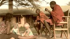 Tea time with the Maasai warriors. Kids love safari holidays!