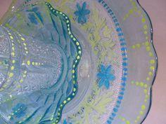 Hand Painted Glass Garden Flower Sculpture, Sun Catcher,