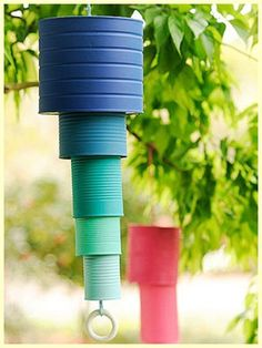 recycled cans, paint cans, wind chimes, tin cans, kids, spring crafts, kid crafts, garden, bright colors