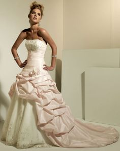 Sleeveless A-line taffeta floor-length bridal gown... wish it was all white!