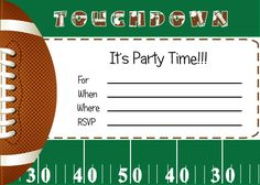 Free football party invitations and printables found on Catch My Party, designed by By Invitation Only. Fun!