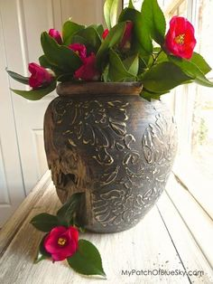 Stencil a flower vase for your home decor or patio party - Royal Design Studio wall stencils on vase DIY craft project