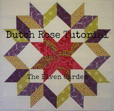 Elven Garden Quilts: {CVE} Bloque 9 Dutch Rose