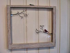 Old Window  Bird on a Tree Branch Hand Painted  by GreenRoofGirl, $50.00