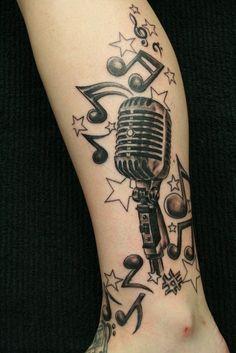 music tattoos, tribal tattoos, tribal leg, leg tattoos, radio
