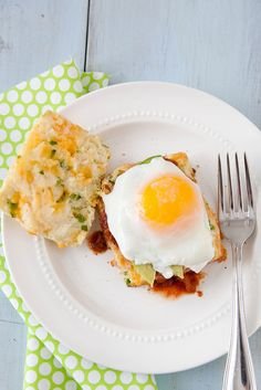 Jalapeño Cheddar Biscuits with Salsa, Avocado and Eggs - Annies Eats