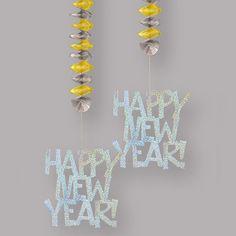Decorados colgantes Happy New Year, imprescindibles para tu fiesta nochevieja! De www.fiestafacil.com / Hanging decorations for your New Year's Eve party! From www.fiestafacil.com