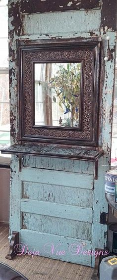 mirror, the doors, entry tables, old door projects, old windows, home decorations, hall trees, old doors, vintage doors