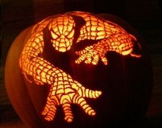 Spiderman pumpkin carving