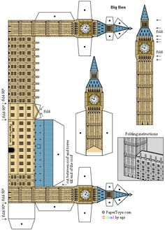 BIG BEN - St. Stephen's Tower - FREE paper model - PaperToys.com london, eiffel tower crafts for kids, around the world kids crafts, big ben, paper crafts, print, paper toys, bigben, paper models