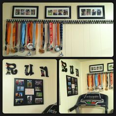 Family marathon race medal display and work out room motivation wall. It's fun to see our past memories while running on the treadmill. My son even has his 5k medal displayed. :D