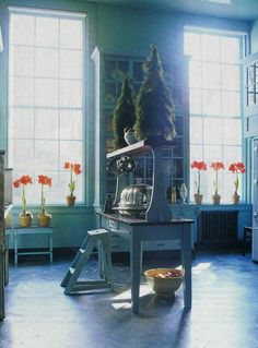 """Cool teal tones wash over every surface in the butler's pantry    of """"Swan House"""" in Atlanta"""