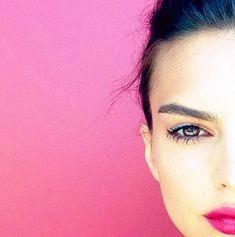 bright pink lipstick