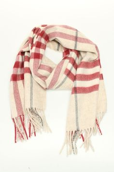 Burberry Check Scarf In Plum.