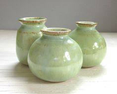3 Green Pottery Vases