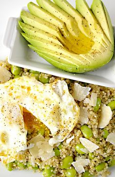 Quinoa salad with edamame, parmesan, avocado and egg. Sounds delicious!