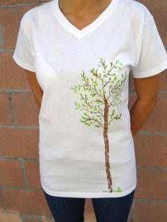 Women Green Tree Tshirt Shirt U.S. Shipping Included Hand Painted.  Women green tree tshirt shirt hand painted    Made with eco friendly materials. Machine washable.    Shipping included within the United States.    Available sizes are Small, Medium, Large,XLarge and XXLarge.  £16.05
