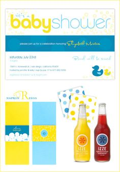 Blue and Yellow Baby Shower, Modern Ducky