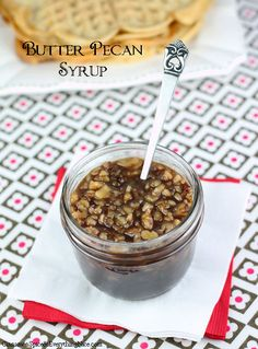 Butter Pecan Syrup is a yummy nutty syrup that goes great with the Granola Waffle recipe it's paired with. Make them both for breakfast one morning. Your family won't forget it! waffl, butter pecan, pecan syrup, cinnamon spice