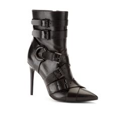 Gaki Leather Pointy-Toe Buckled  - Boots - Kenneth Cole