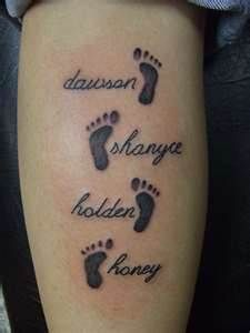 On my foot with colors of birthstone for each foot and add bdate