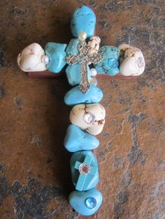 Chunky Cross Decorative Paperweight Turquoise Wall Cross