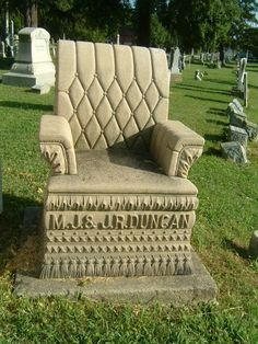 Nineteenth century graveyards sometimes included carved chairs for the comfort of visitors. In this function, the object was known as a mourning chair, and cemeteries have since provided, benches for similar purposes, most often movable units of the type used in parks, but also specimens in the tradition of the carved chairs.