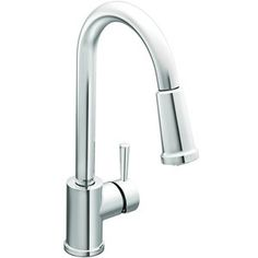 """Moen """"Level"""" Pull-Out Spray Kitchen Faucet in chrome."""