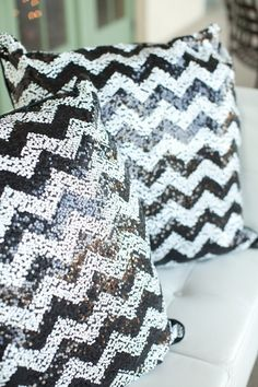 Black and silver chevron sequinned pillows. IKEA. Photography By / paulaplayer.com,