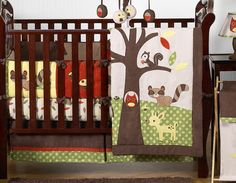 forest nursery | OWL DEER TREE FOREST THEMED BABY BEDDING 9p BOY CRIB SET NEUTRAL ROOM