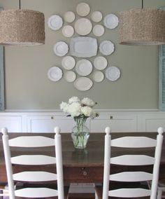 White plates in the dining room!