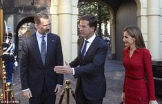 Joining in: Dutch prime minister Mark Rutte was also on hand to welcome Letizia and Felipe to the Hague