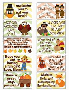 FREE Thanksgiving/Fall Lunch Box Notes