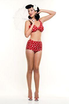 Vintage Inspired Red Polka Dot Bikini
