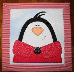 Penguin - Applique quilted wall hanging