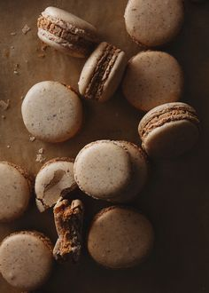 almond macarons with caramelized white chocolate ganache