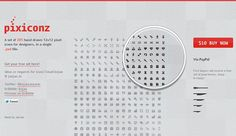 A set of 285 hand drawn 12/12 pixel icons for designers, in a single PSD file. A pack of 33 icons can be downloaded for free.