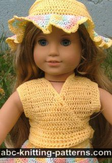 ABC Knitting Patterns - American Girl Doll Flared Buttercup Skirt.