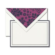 Indigo Correspondence Card: Every wardrobe staple deserves the perfect statement piece. Bordered in rich indigo, this card pairs perfectly with a damask liner in matching hues.