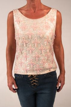 Vintage Cream and Pale Pink Beaded and Sequin Top, $65.00