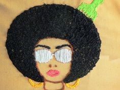 Hand stitched embroidery of a Pretty Diva!
