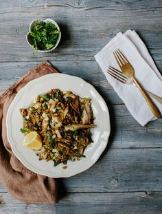 Mixed mushrooms with farro, feta and almonds by Hetty McKinnon of Arthur Street Kitchen.  Photo by Luisa Brimble for Tasty Tuesday on thedesignfiles.net